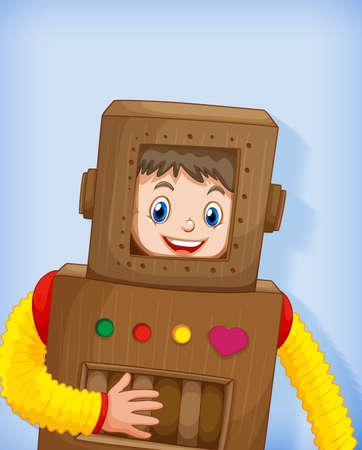 Cute boy wearing robot costume isolated illustration Illustration