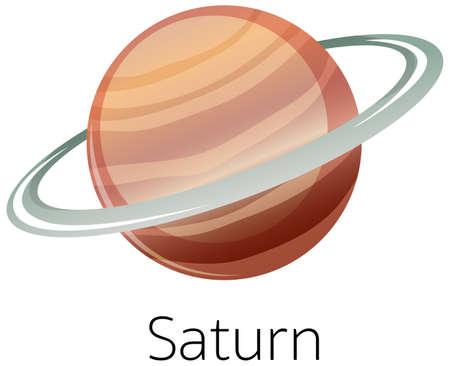 Isolated saturn on white background illustration