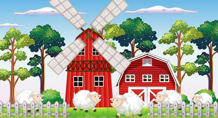 Farm scene in nature with barn and windmill and sheeps illustration Stock Illustratie