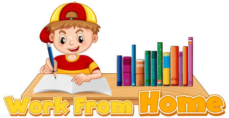 Work from home theme with boy doing homework illustration