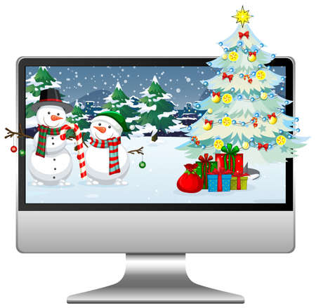 Computer with winter xmas theme desktop background illustration 向量圖像