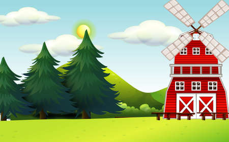 Farm in nature scene with windmill and big pines illustration