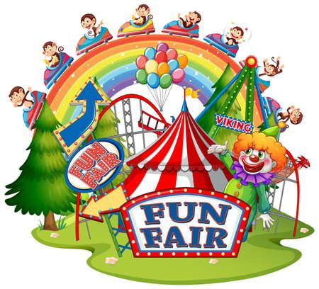 Scene with monkeys at fun fair on white background illustration