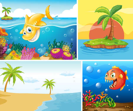 Four different scene of tropical beach and underwater with sea creater illustration Ilustração