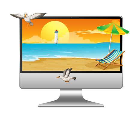 Summer scene on computer desktop illustration Illusztráció