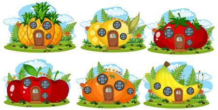 Set of fruit fairy house illustration Ilustracja