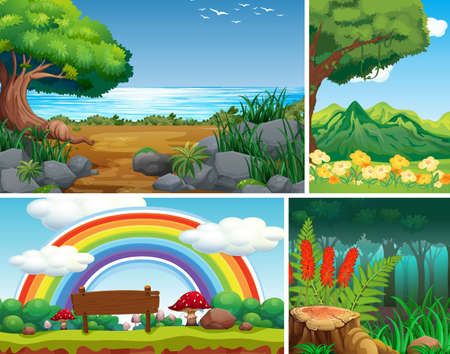 Four different nature scene of forest and wonderful garden cartoon style illustration