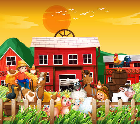 Farm in nature scene with farm house and animal farm on sunset background illustration