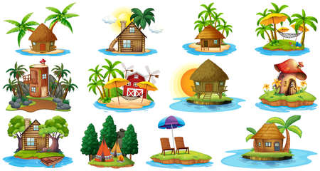 Set of different bangalows and island beach theme and amusement park isolated on white background illustration