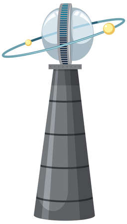 Isolated space tower station on white background illustration Ilustração