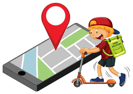 Delivery man or courier riding on scooter with pin on smartphone display illustration