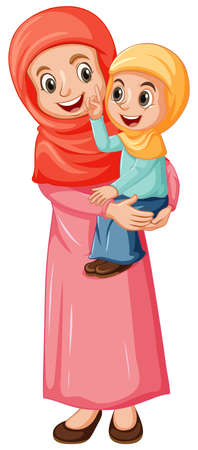 Arab muslim mom and daughter in traditional clothing isolated on white background illustration Ilustracje wektorowe