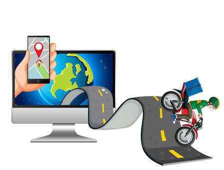 Delivery man diving on the road and computer illustration