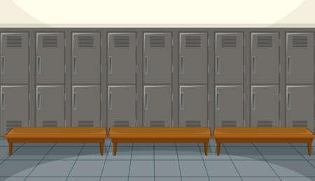 Sport changing room with locker background illustration