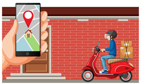 Delivery man diving motorcycle or moterbike with map screen on smartphone illustration Illustration