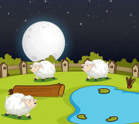 Farm scene with cute sheep at night illustration
