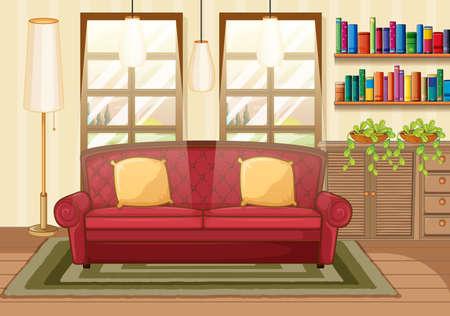 Living room background scene illustration 矢量图像
