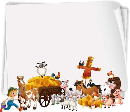 Animal farm with blank banner illustration