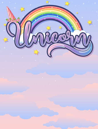 Blank banner with unicorn   in the pastel sky background illustration Illustration