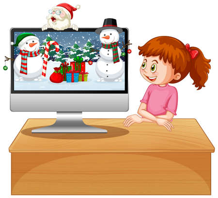 Xmas theme on computer desktop illustration 向量圖像