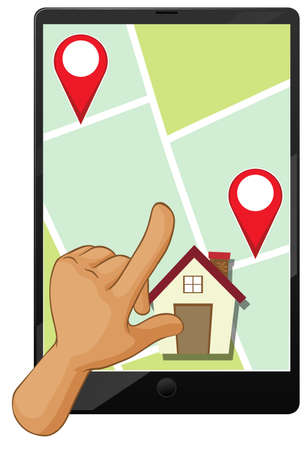Hand using smartphone or finding location in the map application illustration