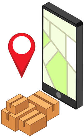 Location pin on mobile application icon illustration Ilustracja