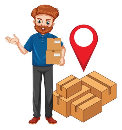 Deliver or courier man in blue uniform cartoon character illustration Ilustracja