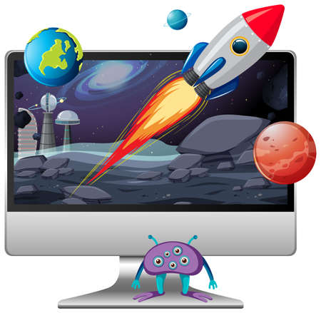 Space scene on computer desktop background illustration