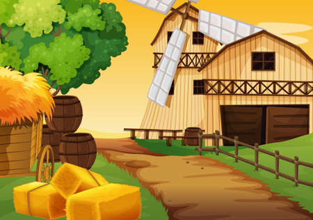 Farm scene in nature with barn and windmill illustration 向量圖像