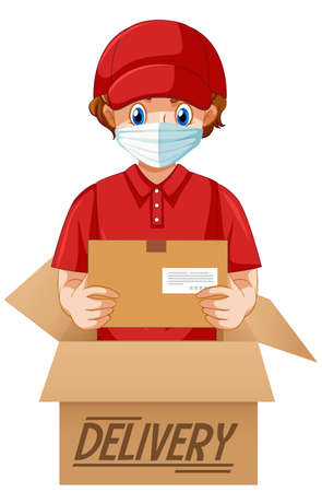 Deliver or courier man in red uniform cartoon character illustration