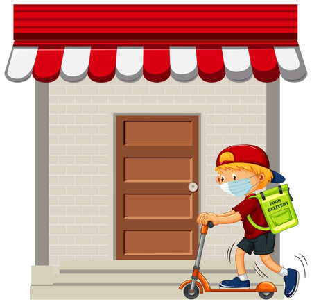 Boy delivery food with kick scooter illustration Çizim