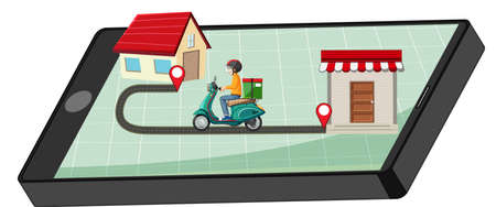 Delivery man riding on smartphone display illustration