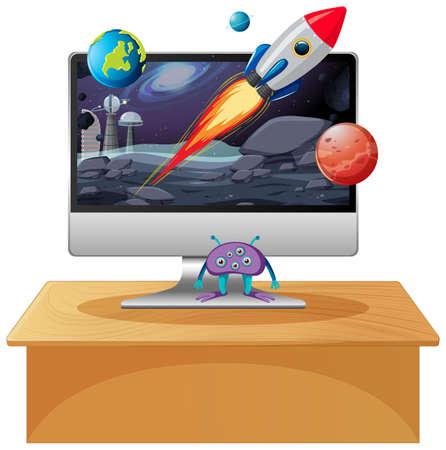 Space scene on computer desktop background illustration