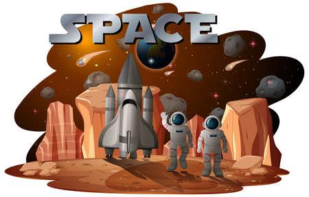 Astronaut in space scene illustration