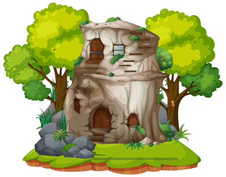Isolated stone house on white background illustration Ilustracja