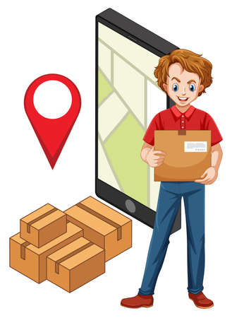 Delivery man with pin locate on smartphone illustration