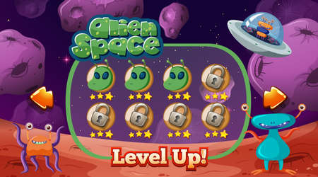 Alien in space game template illustration
