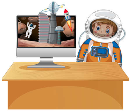 Computer with space scene illustration
