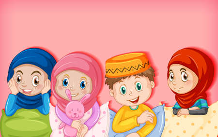 Muslim children cartoon character illustration Vectores