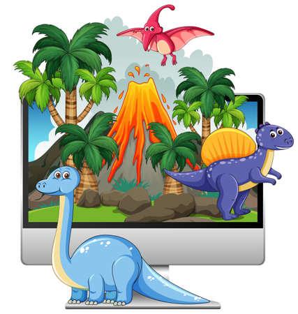 Dinosaur on computer screen background illustration