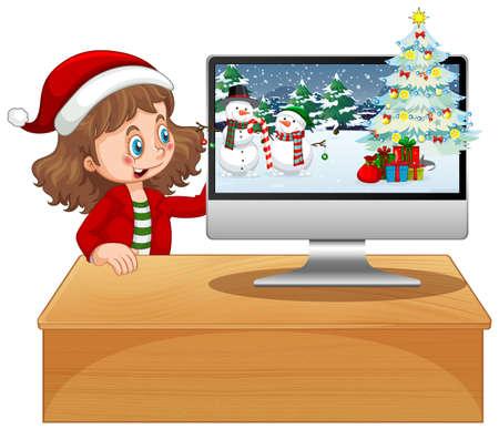 Girl next to computer with xmas theme illustration
