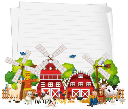 Blank paper with animal farm set isolated illustration