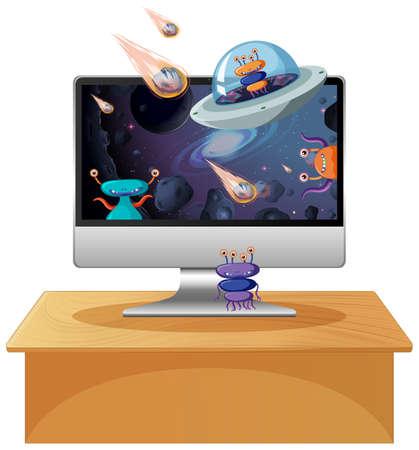Alien galaxy background on computer screen illustration Illusztráció