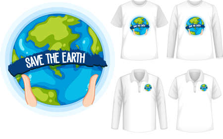Mock up shirt with planet icon illustration