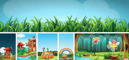Six different scene of fantasy world with fantasy places and fantasy characters such as fairies illustration