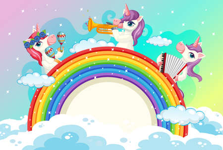 Blank banner with cute unicorns in the pastel sky background illustration