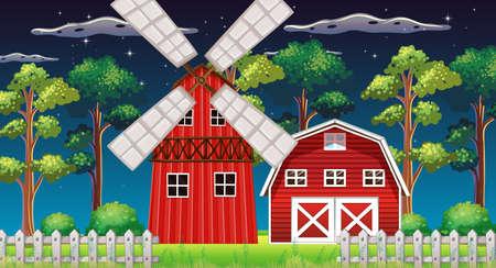 Farm scene with barn and mill at night illustration Stock Illustratie