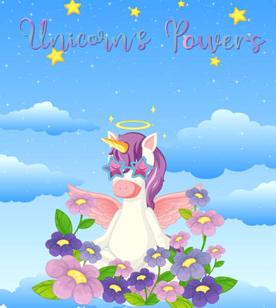 Blank banner with cute unicorn in the pastel sky background illustration