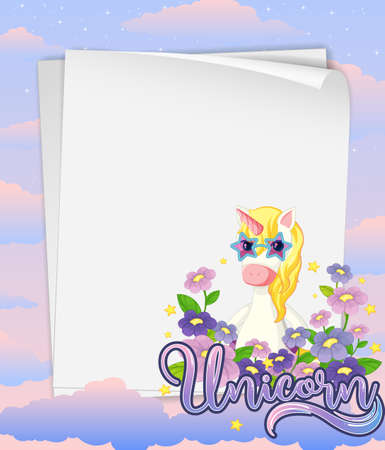 Blank paper banner with cute unicorn in the pastel sky background illustration