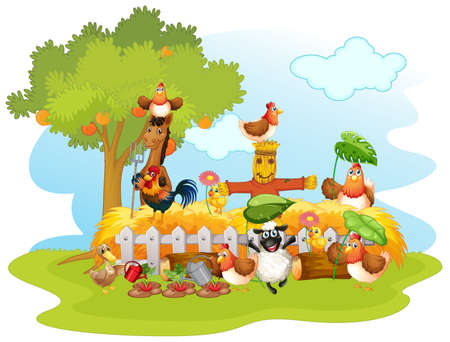 Group of domestic animals in a farm isolated illustration